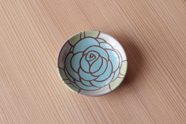 豆皿「バラ水色」11cm 岡美希