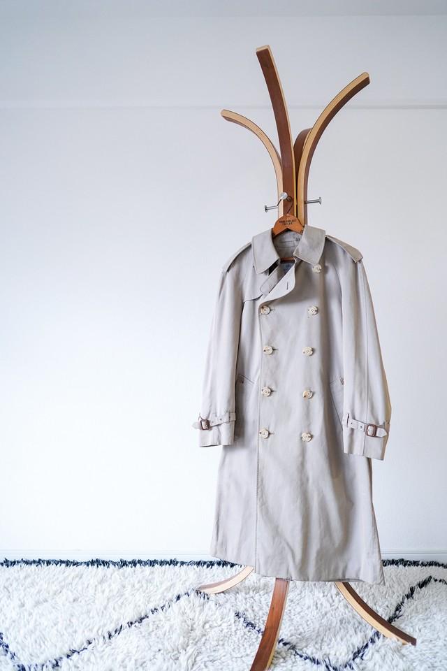 """【1970s-80s】""""Aqua5, Aquascutum"""" 100% Cotton Trench Coat / v480"""