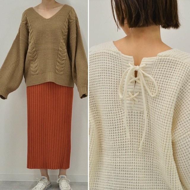 ◆即納◆ 後ろ編み上げ ざっくり ケーブル編 みニット NW-10-16
