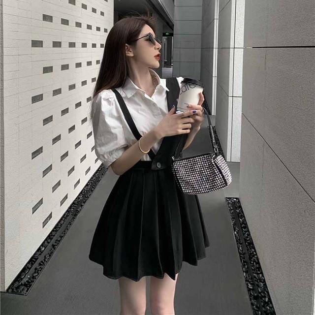 【セット】「単品注文」シンプル半袖シングルブレストPOLOネックシャツ+スカート42787355