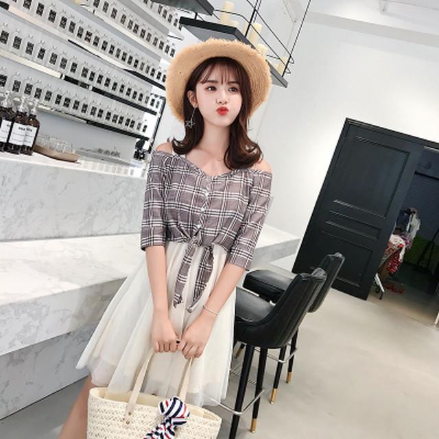 ストラップドレス メッシュスカート 格子柄 人気 かわいい♥