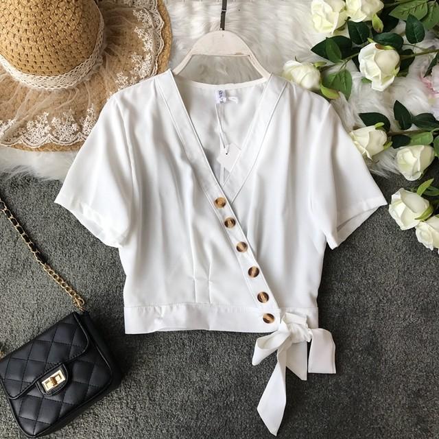 夏セール10%OFF Vネックシャツ ショートブラウス 6色展開 RPC952803