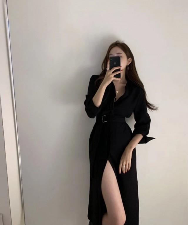 起毛2トーンワンピース ワンピース ロングワンピース 韓国ファッション