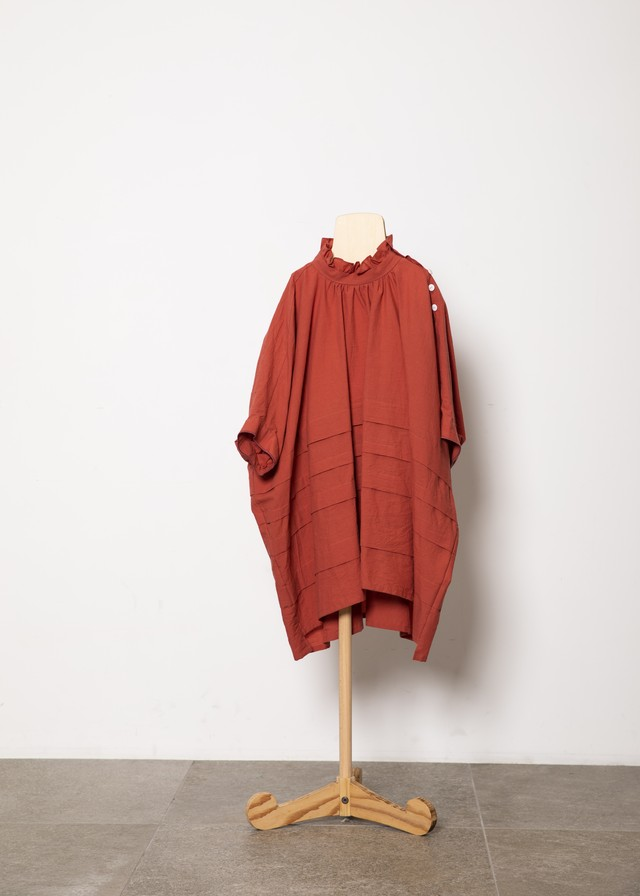 【21SS】folkmade(フォークメイド) frill high neck tuck shirts シャツ brickred(L)