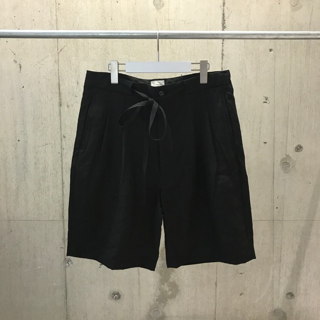 FILL THE BILL HIGH COUNT LINEN TWO TACK SHORTS BLACK
