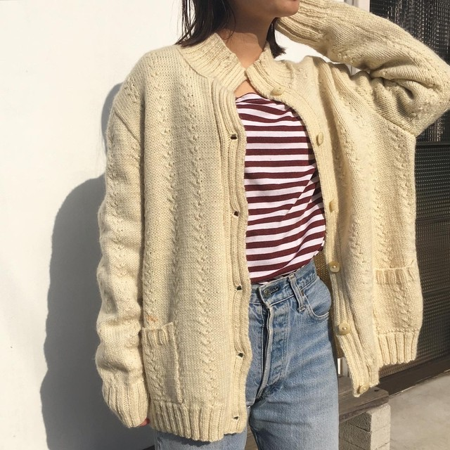 "USED "" turtle neck cable knit cardigan """