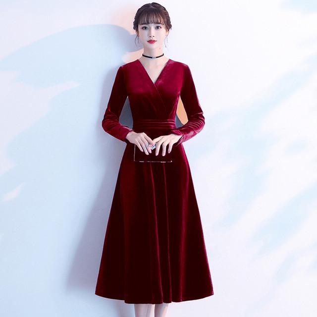 パーティードレス ロングワンピース ロングドレス 女子会 二次会 お呼ばれドレス 発表会 大きいサイズ S M L LL 3L 4L ベルベット ワインレッド