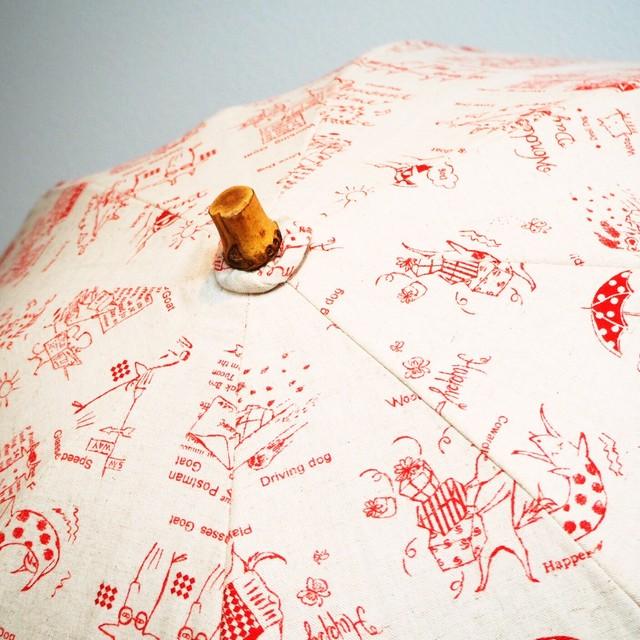 【日傘】リックラックのあかい傘