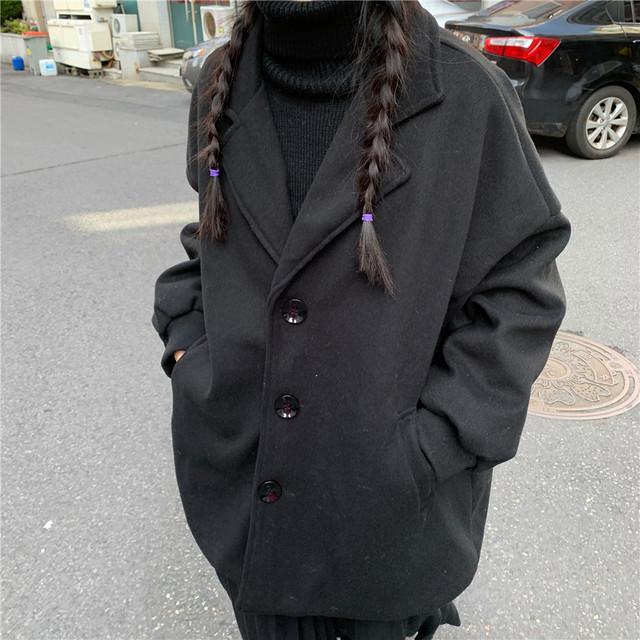 ショートコート ランタンスリーブ ウール混 韓国ファッション レディース コート ショート丈 パフ袖 長袖 アウター 無地 レトロ / Wool loose thick cardigan coat (DTC-606785567644)