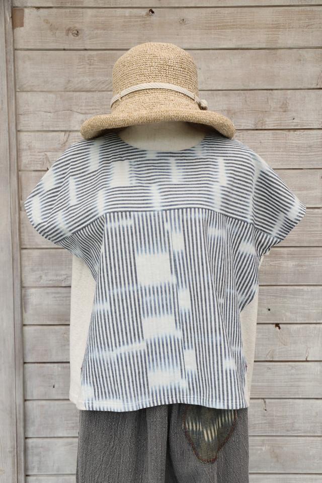 ボウタイ付襟なしブラウスBLK05  藍染濃紺無地備後織物(K1)