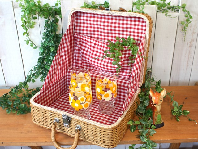 ピクニックバスケット 籐製 レトロ ギンガムチェック♪ 昭和レトロ キャンプ ピクニック
