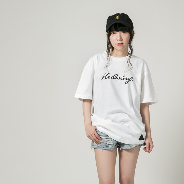 Cursive Owl T-shirt White×Black