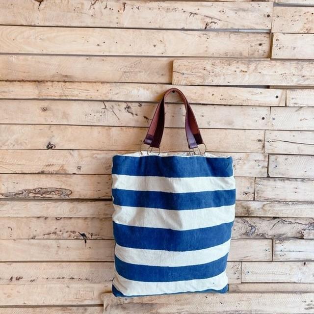 木版プリント罫線トートバッグ ブルー
