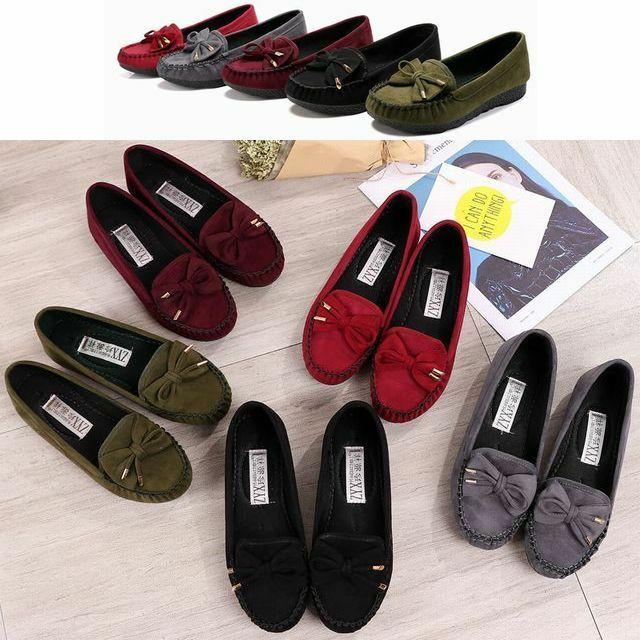 レディース リボンモカシン フラットシューズ ローファー ぺたんこ / Women's soft bottom spring and autumn flat shoes (DCT-563649786703)
