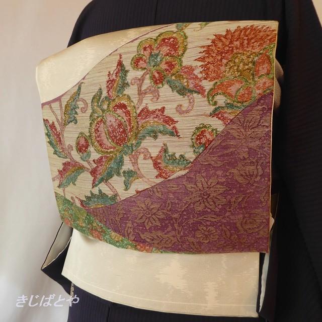 正絹 白地に更紗風の花の袋帯