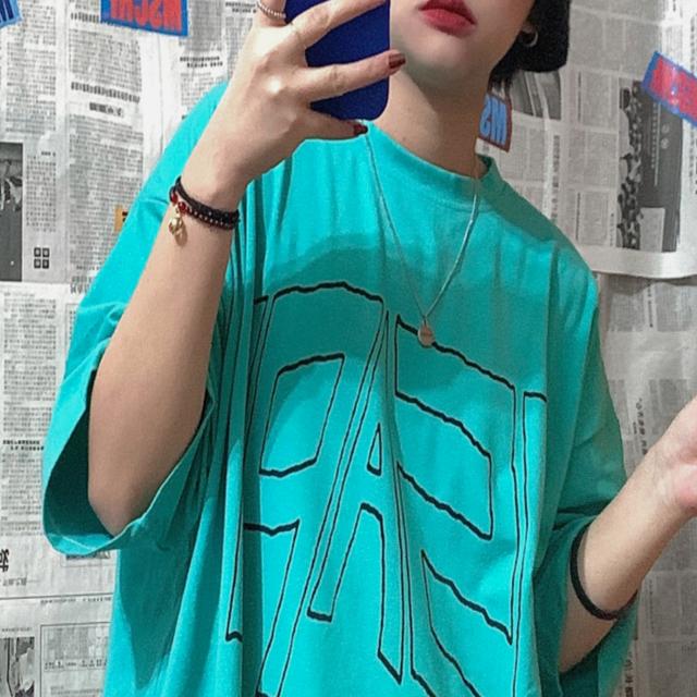 ミントグリーンプリントTシャツ