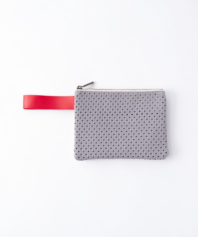 【TRICOTÉ】MESH POUCH:グレーxベージュ