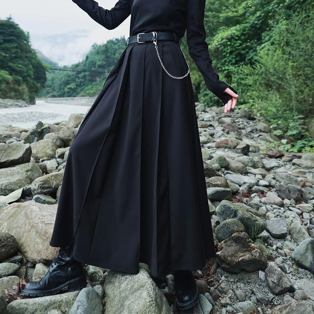 【大青龍肆シリーズ】ロング丈スカート ベルト付き プリーツスカート エレガント 着痩せ ブラック