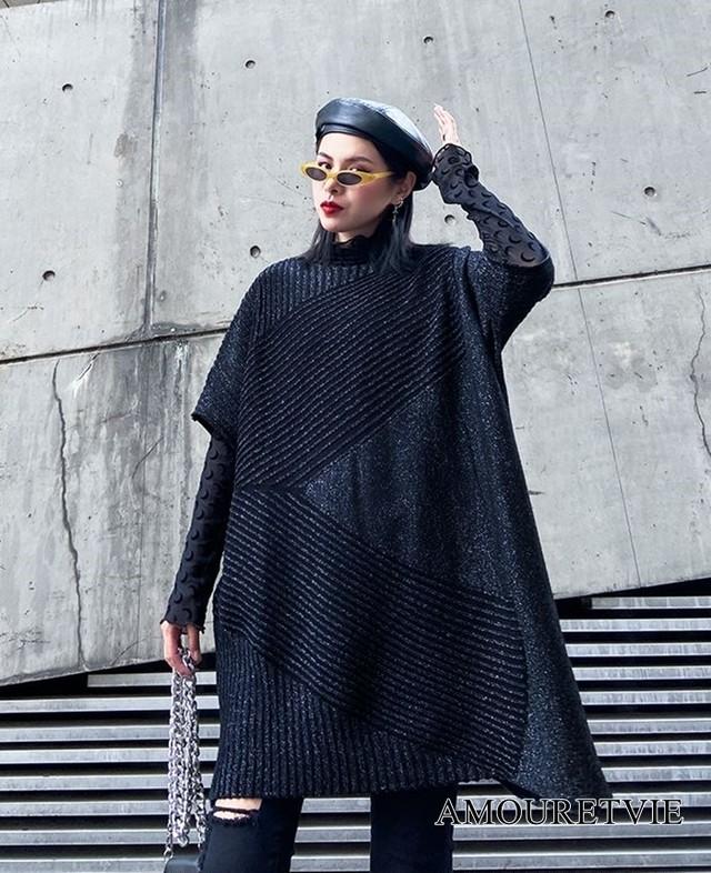 セーター 半袖 ゆったり ビッグサイズ 大きいサイズ アシンメトリー 黒 ブラック 赤 レッド モード系 ヴィジュアル系 1090