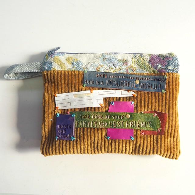 布と革のポーチ LE-1359