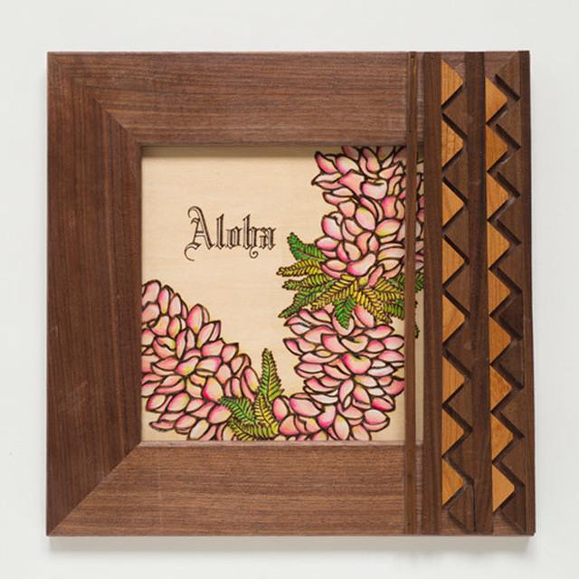 Art 【Pink Plumeria Lei・ Tapa柄スクエア・フレーム】
