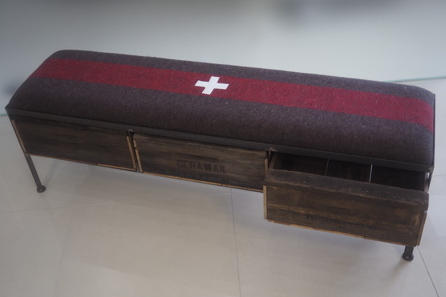 品番UEM3-107  3drawer ottoman[narrow/European military blanket]