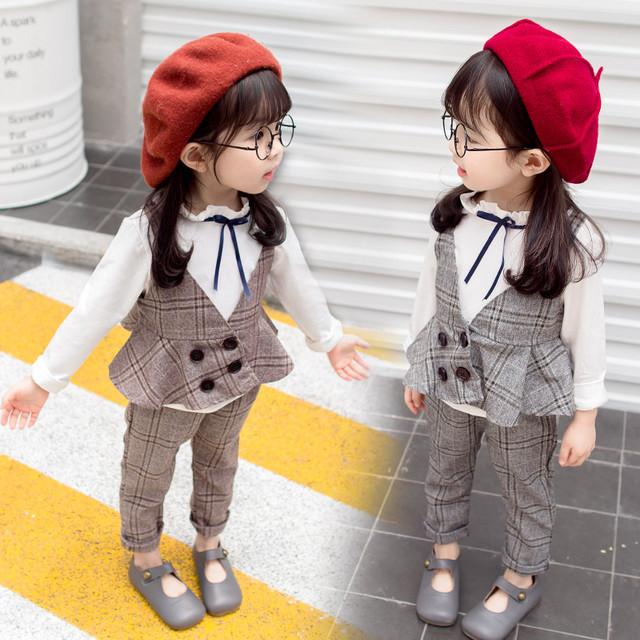 【セット】ファッションチェック柄配色長袖ラウンドネック女の子セット25198275