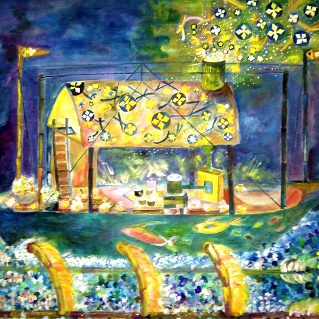絵画 絵 ピクチャー 縁起画 モダン シェアハウス アートパネル アート art 14cm×14cm 一人暮らし 送料無料 インテリア 雑貨 壁掛け 置物 おしゃれ イラスト 現代アート 星 船  ロココロ 画家 : なったこ 作品 : 星を作る船