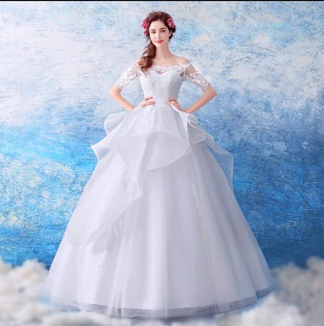 オフショルダーロングドレス