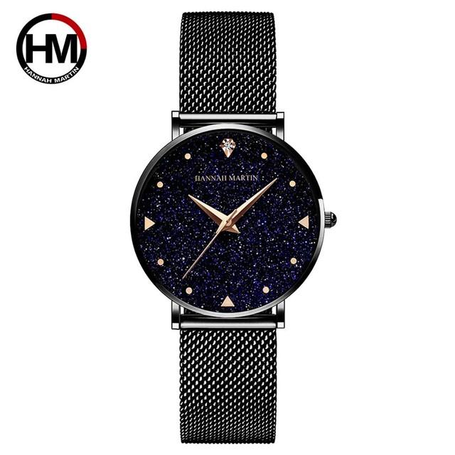 日本クォーツムーブメントステンレススチールメッシュバンドウォッチゴールデンレディース腕時計フラッシュナイトスターは女性XK36WFH