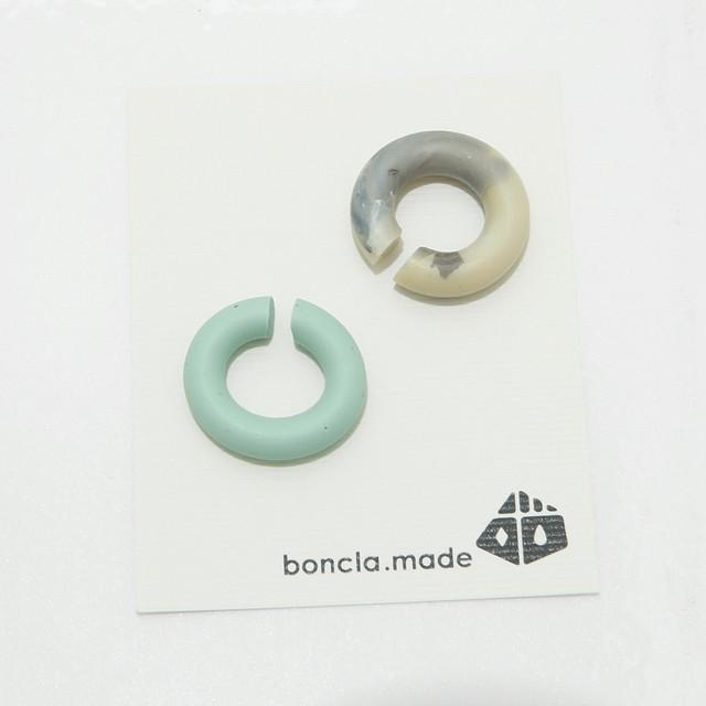 boncla.made/ボンクラメイド/イヤーカフ/グリーン×ベージュMIX/180