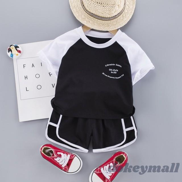 【セット】カジュアル 配色 ファッション 半袖 ベビー服 男の子2点 セットアップ29915713