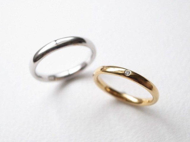 【pairing・stamp】K18YG Diamond・silver950/oval ring