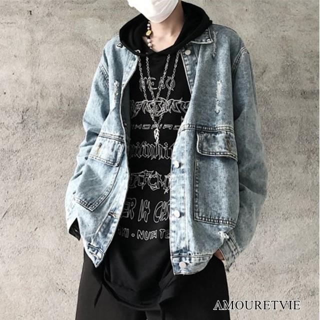 ジャケット デニム ダメージ加工 ユニセックス ストリート カジュアル オルチャン 韓国ファッション 1682