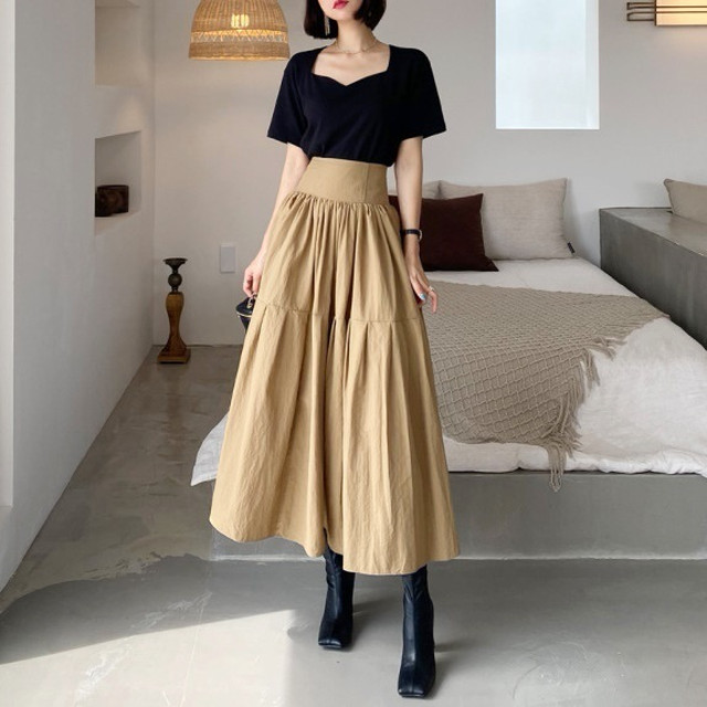 ハイウエストギャザースカート D210801