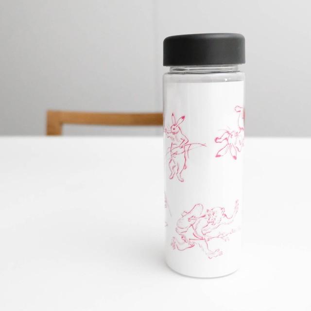 鳥獣戯画 クリアボトル ピンク