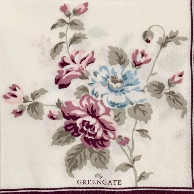 【GreenGate】バラ売り1枚 カクテルサイズ ペーパーナプキン MAUDE ホワイト