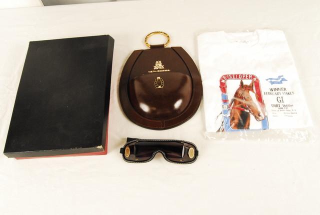 0809b  未使用 大阪プロレス 設立記念パーティ ファンの集い ゴーグル 馬革グッズ メイセイオペラ Tシャツ セット