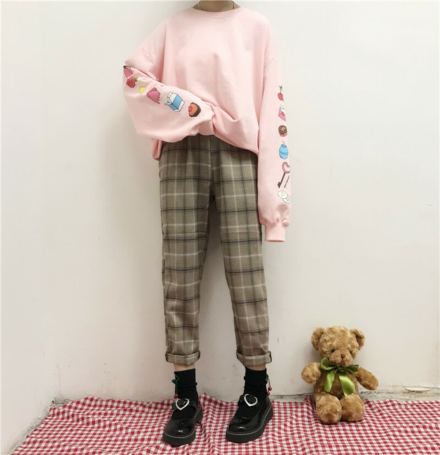 【送料無料】秋っぽ チェック柄 ♡ マニッシュ ウエストゴム クロップド丈 カジュアル パンツ