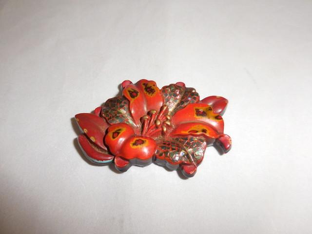 漆螺鈿百合帯留 URUSHI lacquer obi sash clip(lily)