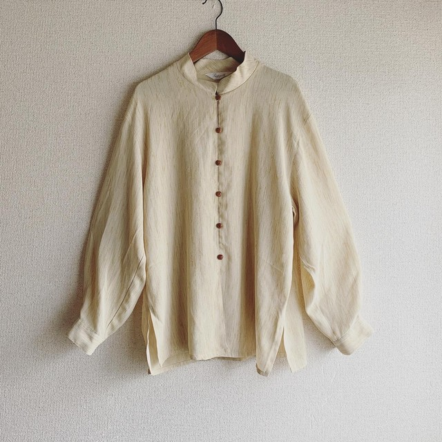 vintage wood button stand collar tops