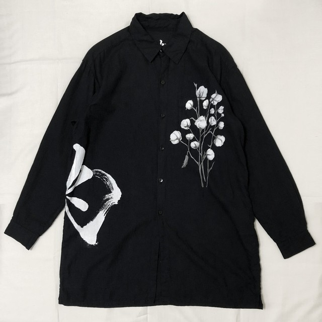 """兆"" LOGO ORGANIC COTTON TWILL LONG SHIRT 【受注生産】"
