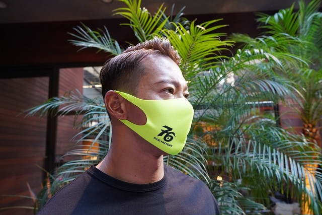 No,76 logo dry fit mask(FLUORESCENT YELLOW)