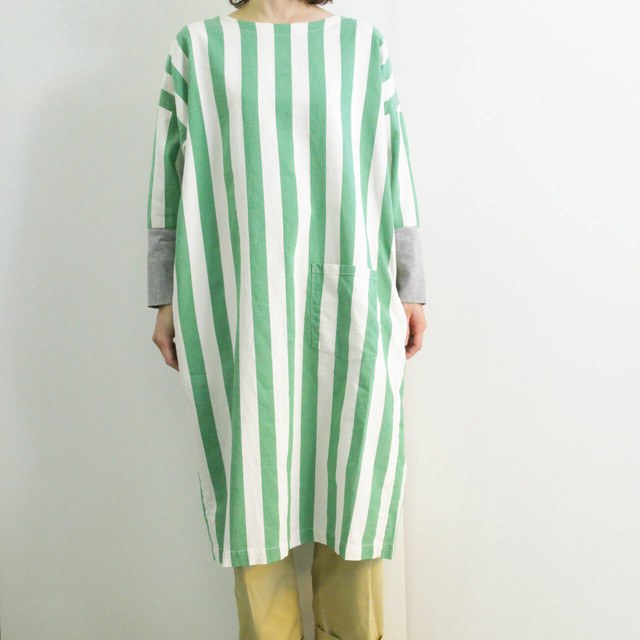NAPRON (ナプロン) 【 WORDROBE ワードローブ】  COVERING WEAR -GREEN  STRIPE-