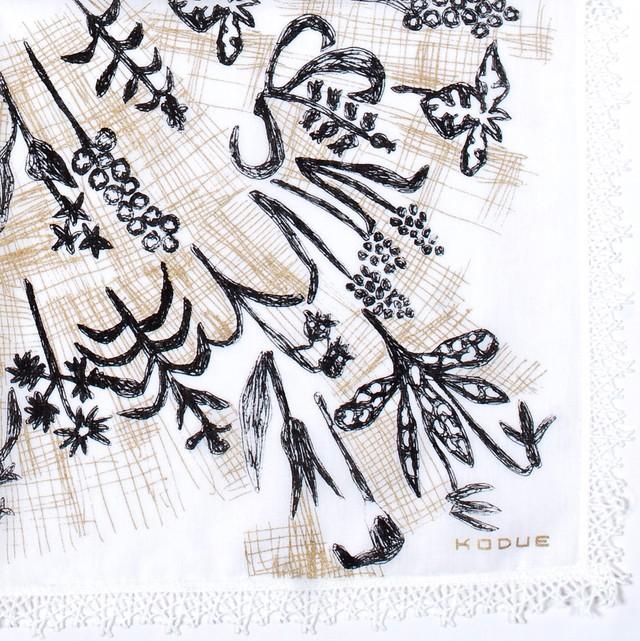 ひびのこづえ ハンカチ 草花 / ホワイト レース付き 48x48cm KH12-01