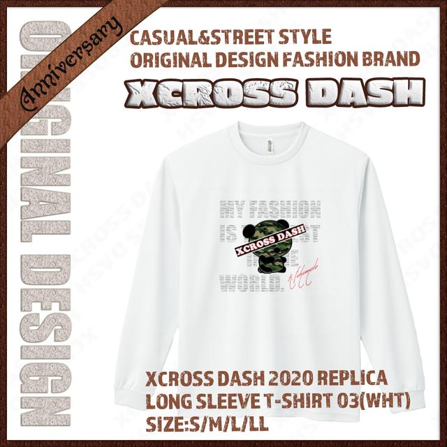 XCROSS DASH 2020 REPLICA Long sleeve T-SHIRT 03 (WHT) レプリカデザイン長袖Tシャツ