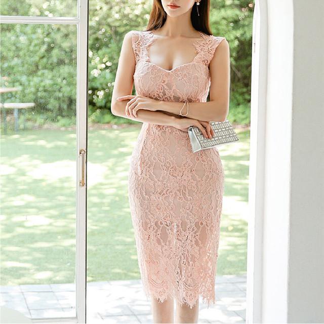 ワンピース フェミニン レース  気質 透かし彫り 綺麗め ノースリーブ ピンク S M L LL