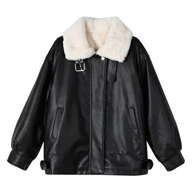 【Cat & Parfum】Eco Fur & Leather Jacket