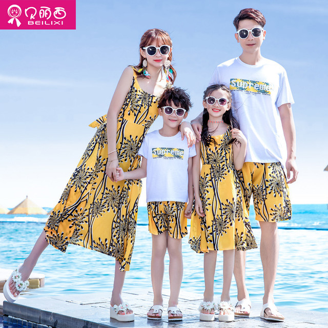 21 母と子のドレス、ビーチスカート、親子着、夏着、3人家族、4人家族、夏の家族着、母子着 サマー 夏物 贝丽西旗舰店 贝丽西旗舰店91895941082