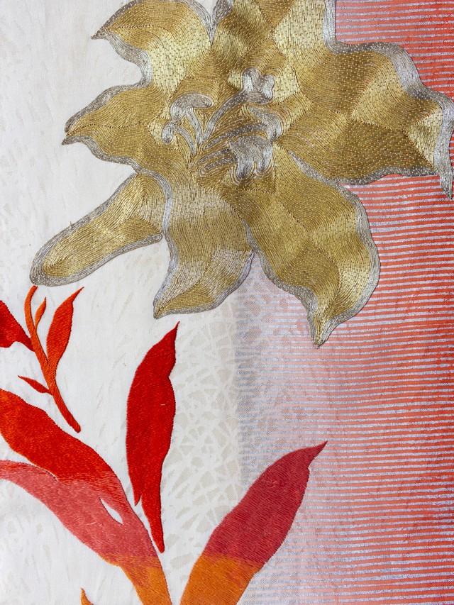 百合 金駒刺繍 名古屋帯